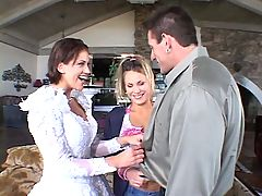 Bride & a hottie share a big cock
