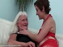 Old Perverted Lesbian Woman Enjoys Kissing And Rubbing
