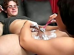 Mom Shaves And Blows Boy's Cock