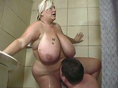 Bbw big titty blond shower fuck