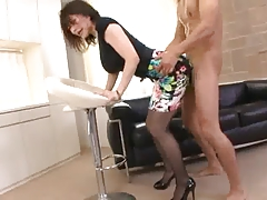 Horny lady enjoying interracial sex video